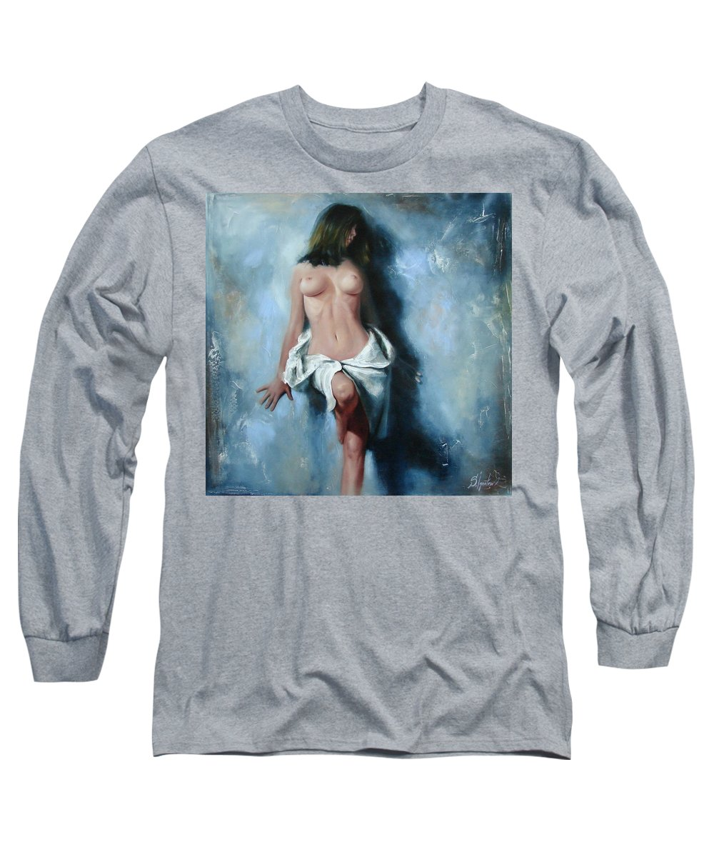 Oil Long Sleeve T-Shirt featuring the painting The Cold Senses by Sergey Ignatenko