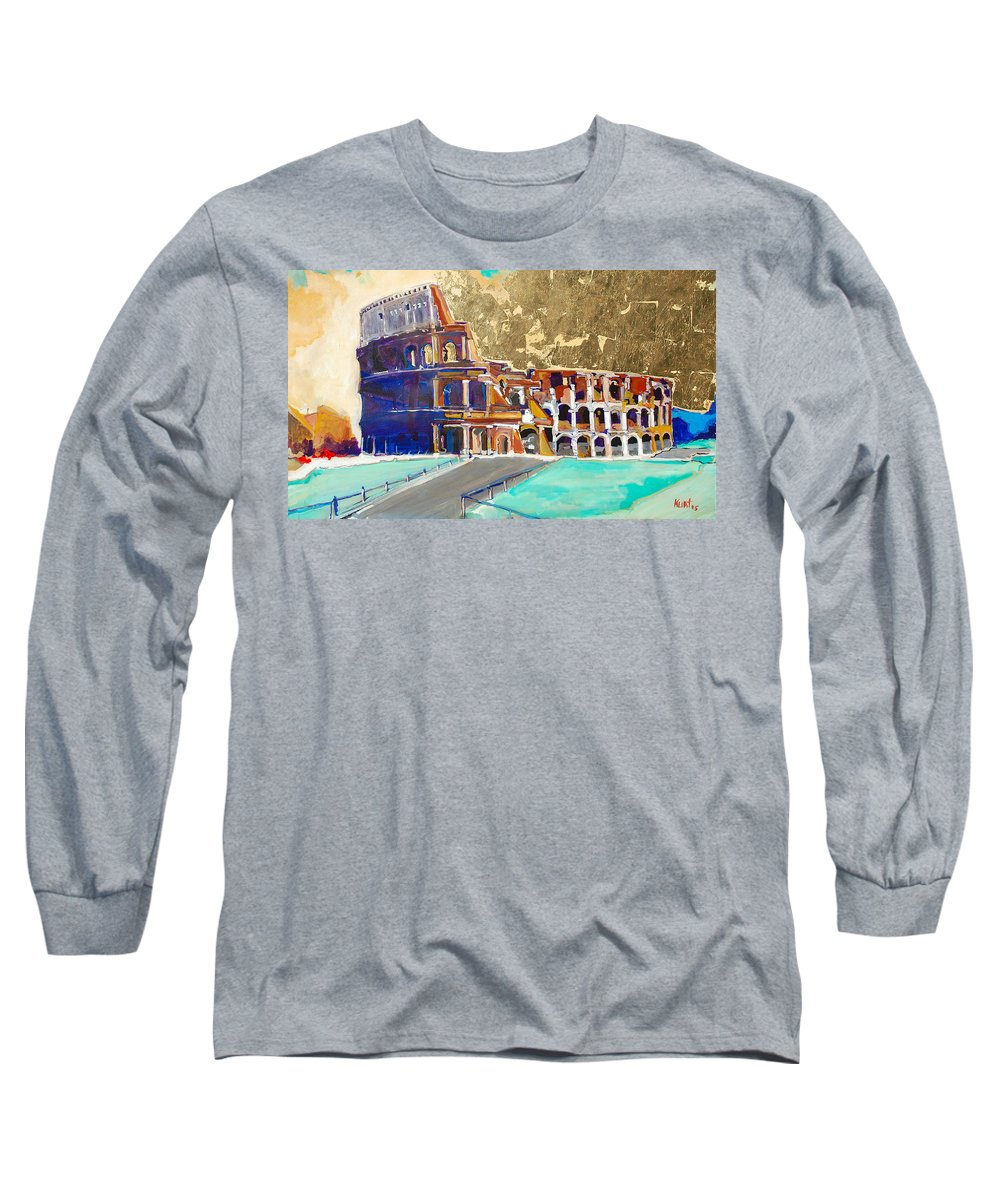 Colosseum Long Sleeve T-Shirt featuring the painting The Colosseum by Kurt Hausmann