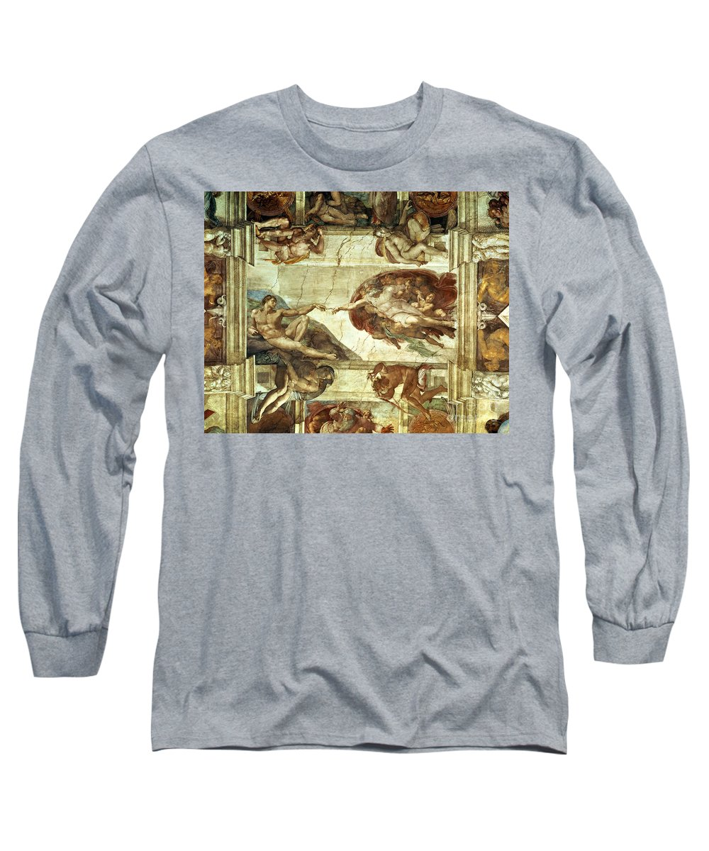 The Creation Of Adam Long Sleeve T-Shirt featuring the painting The Creation Of Adam by Michelangelo