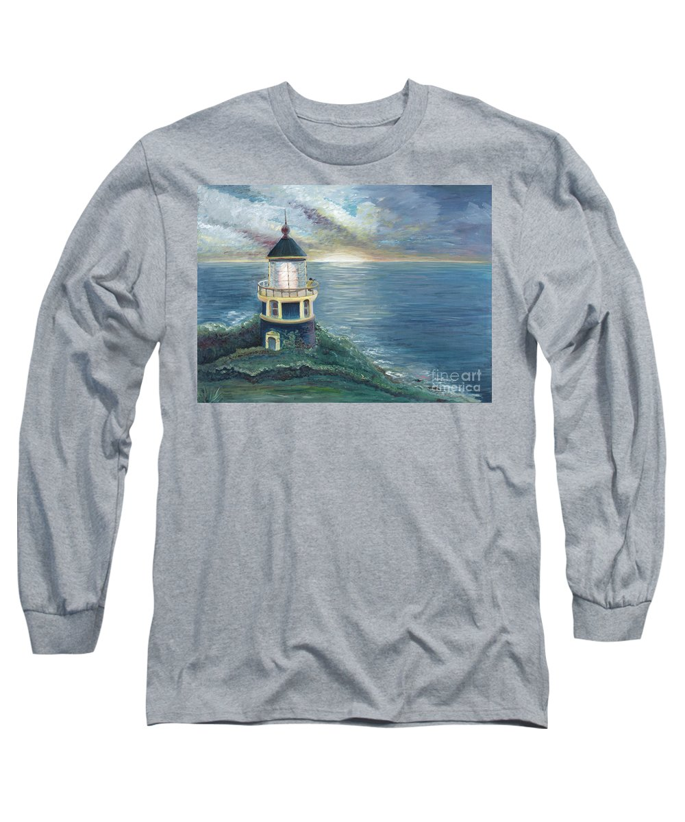 Lighthouse Long Sleeve T-Shirt featuring the painting The Lighthouse by Nadine Rippelmeyer