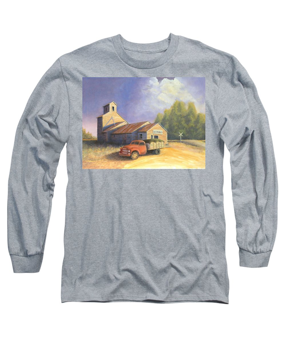 Nebraska Long Sleeve T-Shirt featuring the painting The Lisco Elevator by Jerry McElroy