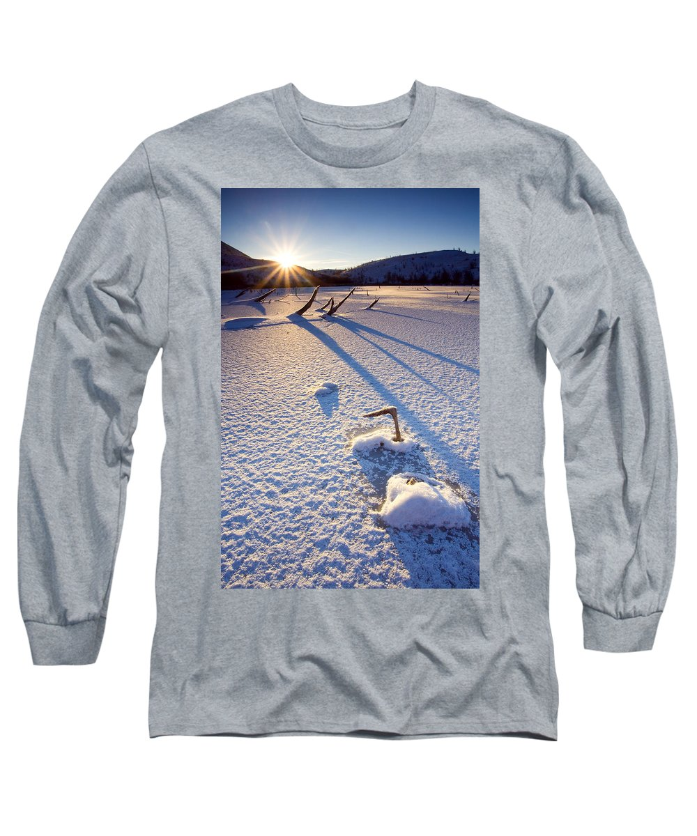 Sunrise Long Sleeve T-Shirt featuring the photograph The Long Shadows Of Winter by Mike Dawson