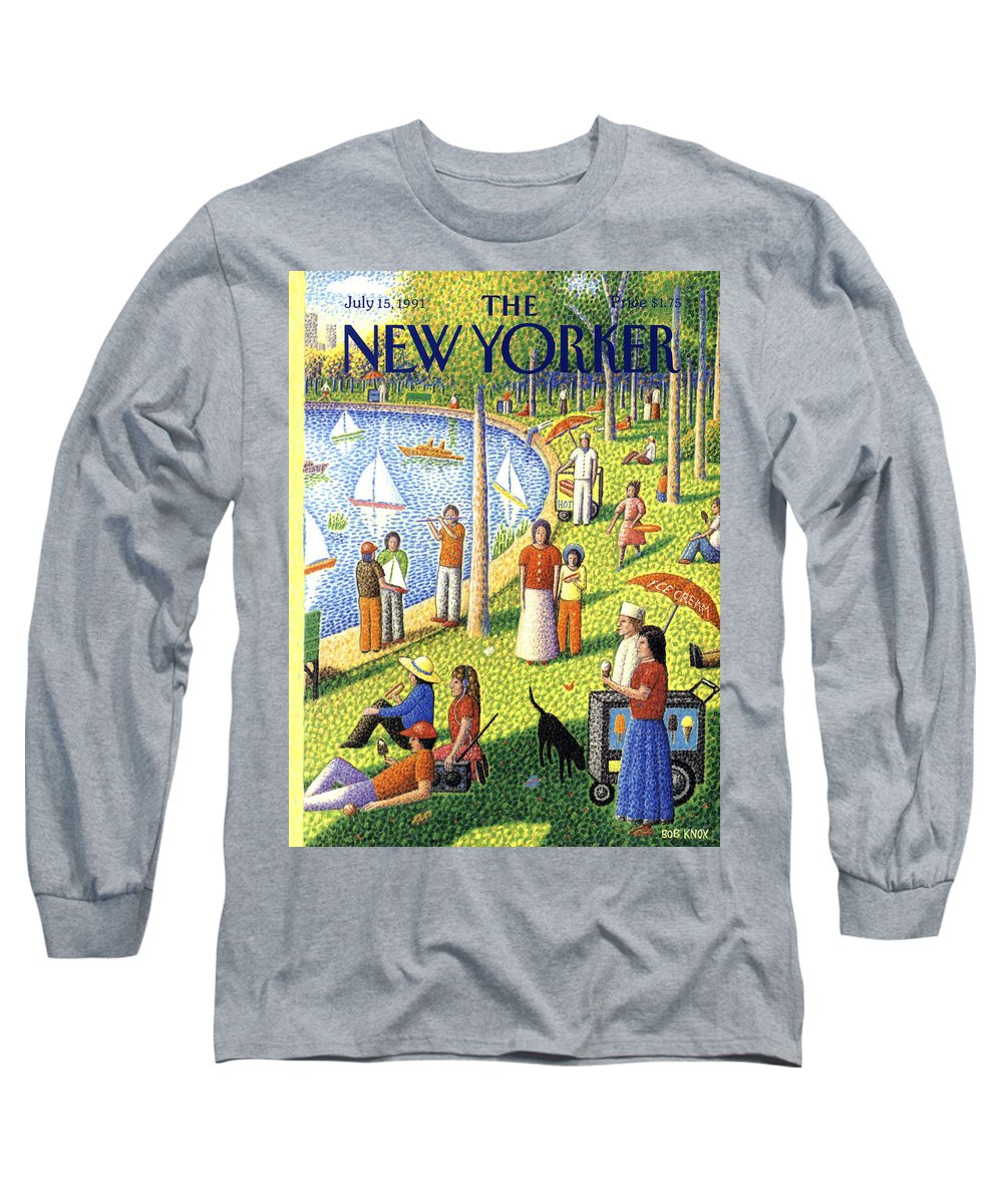 La Grande Jatte Long Sleeve T-Shirt featuring the painting The New Yorker July 15th, 1991 by Bob Knox