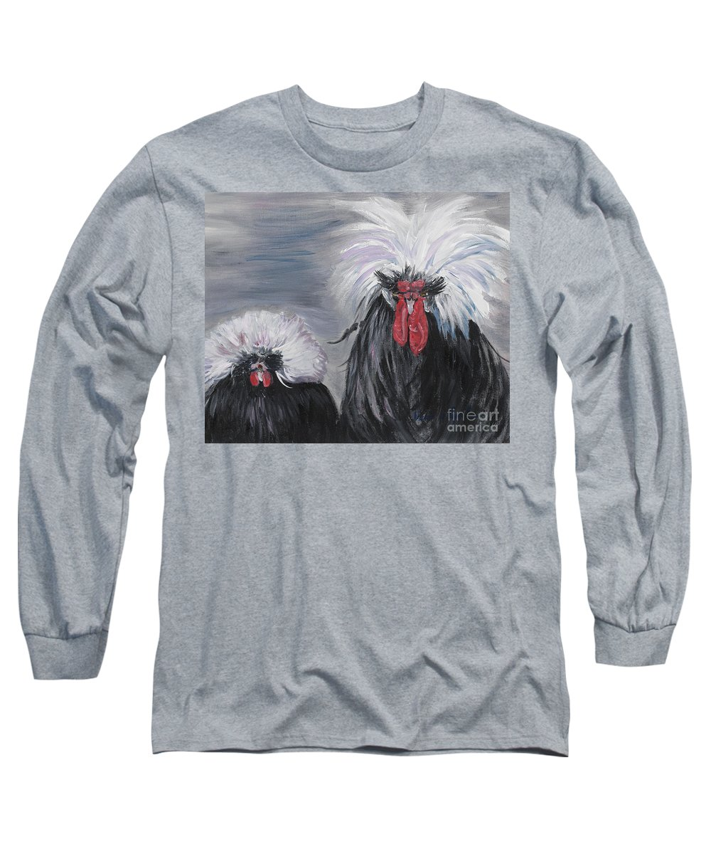 Odd Chickens With Wild Hair Long Sleeve T-Shirt featuring the painting The Odd Couple by Nadine Rippelmeyer