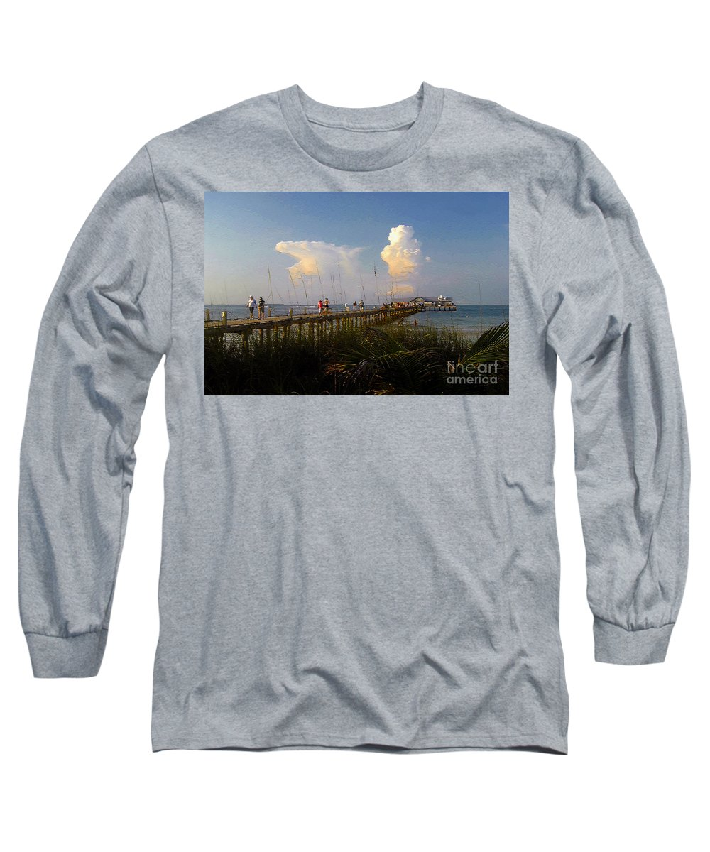 Pier Long Sleeve T-Shirt featuring the photograph The Pier On Anna Maria Island by David Lee Thompson