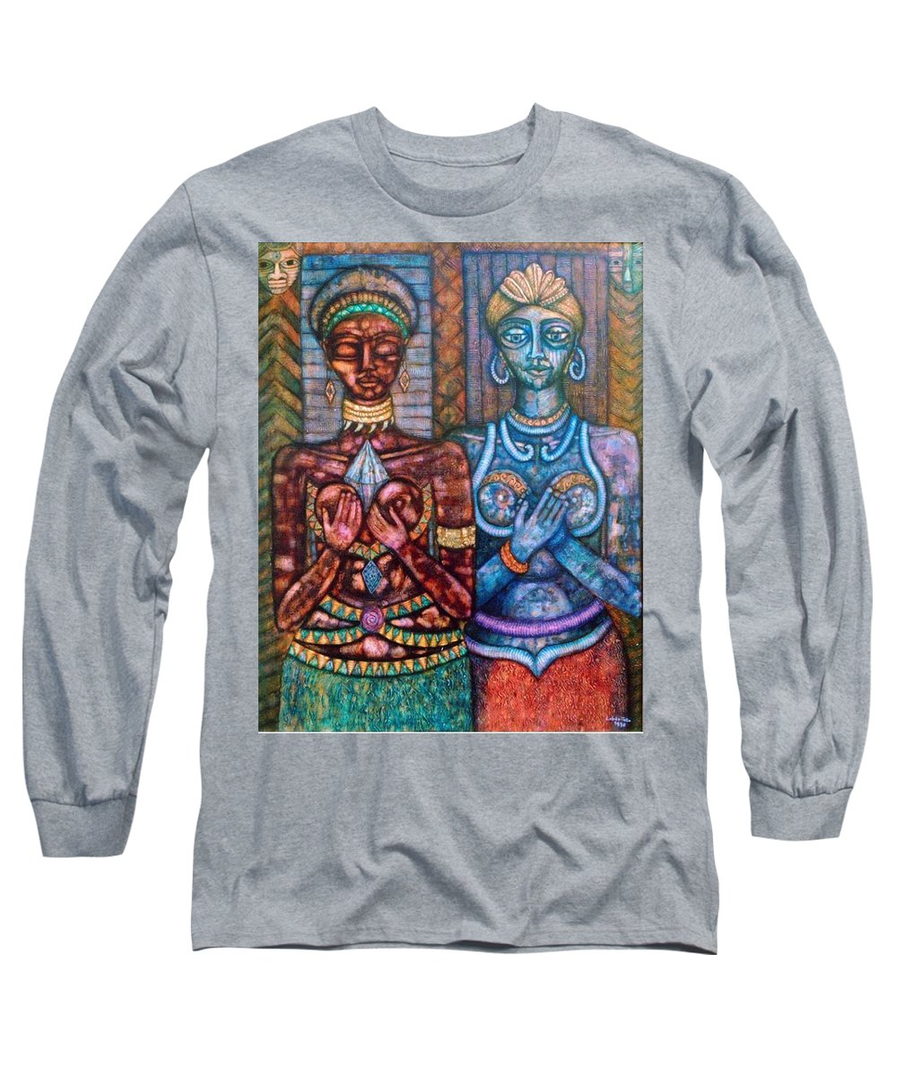 Priestesses Long Sleeve T-Shirt featuring the painting The Priestess Of The Occult by Madalena Lobao-Tello