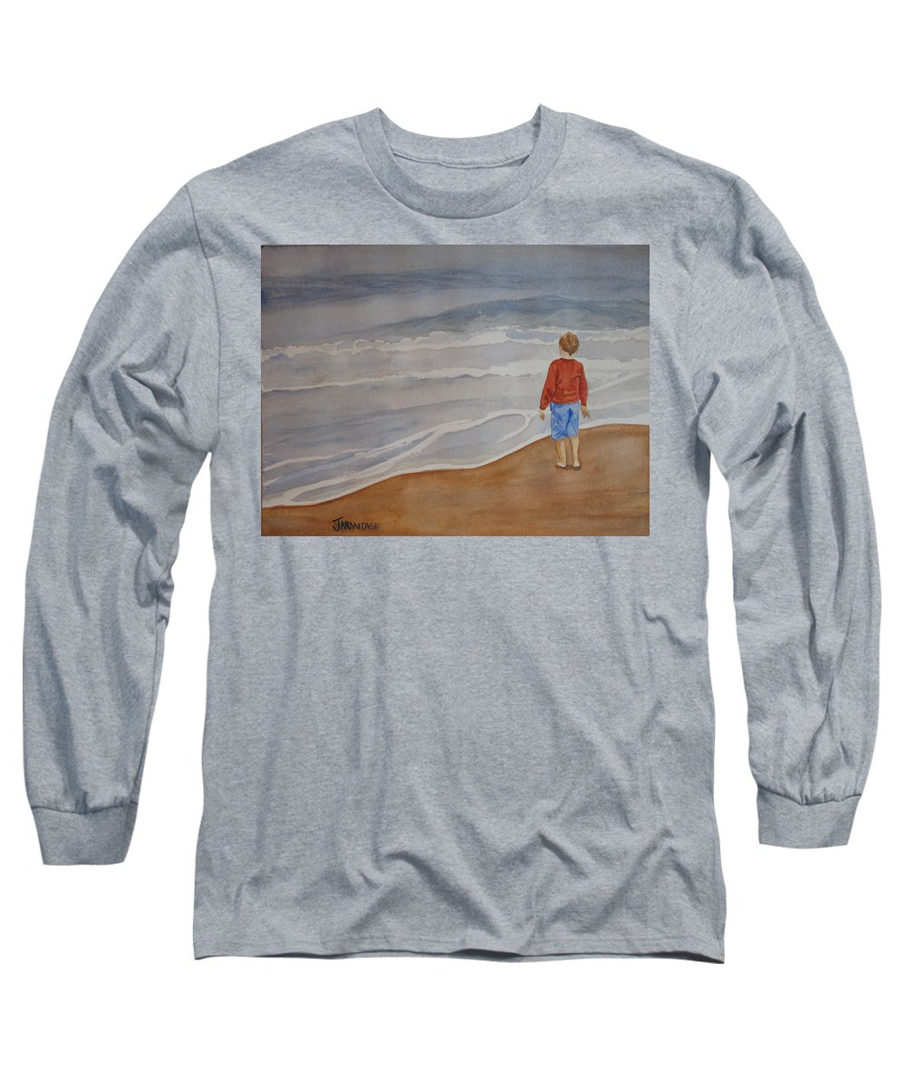 Boy Long Sleeve T-Shirt featuring the painting The Red Shirt by Jenny Armitage