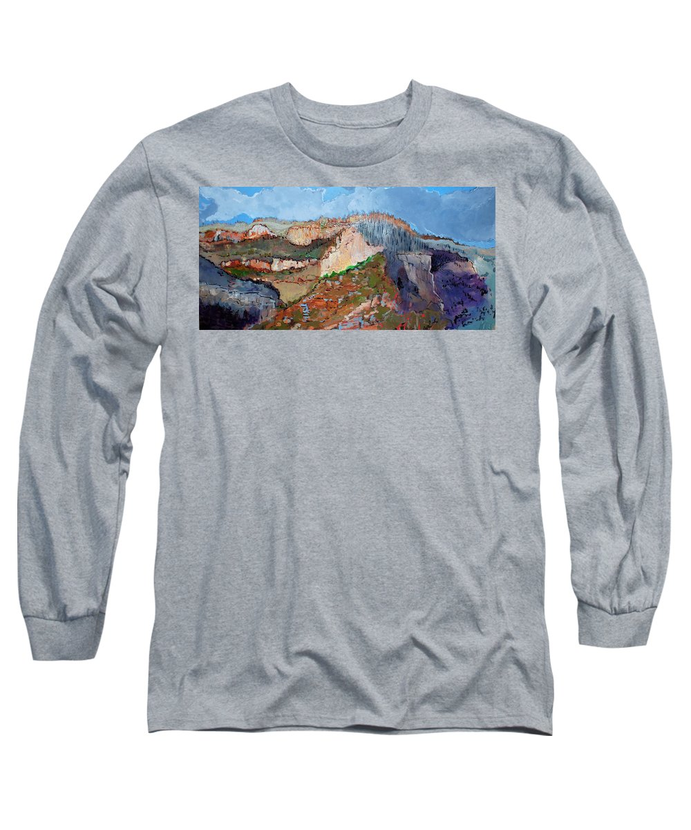 Mountains Long Sleeve T-Shirt featuring the painting The Rockies by Kurt Hausmann