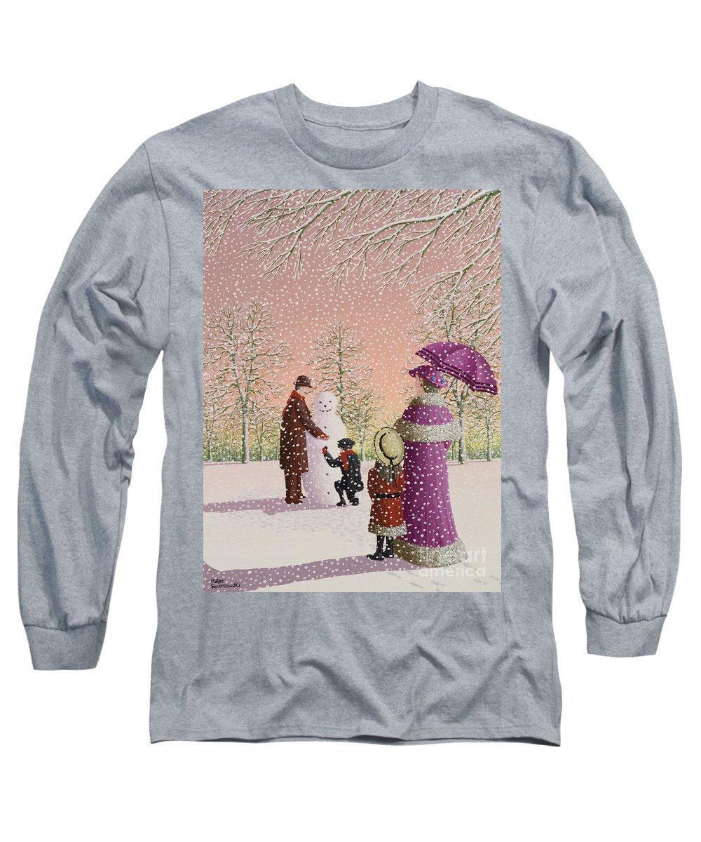 Snowman; Snow; Snowing; Winter; Cold; Woman; Umbrella; Parasol; Child; Children; Man; Playing; Outside; Landscape; Tree Long Sleeve T-Shirt featuring the painting The Snowman by Peter Szumowski