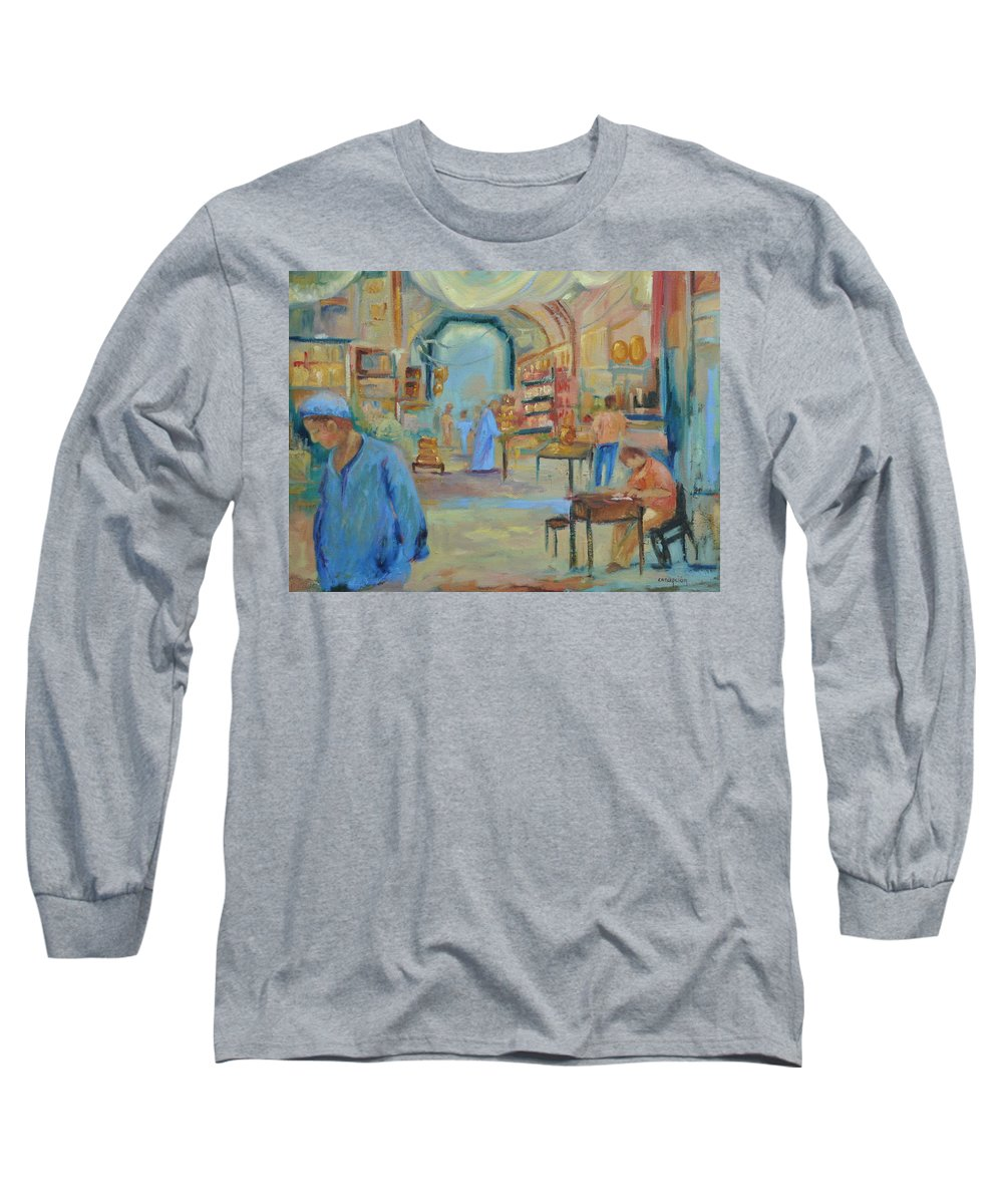 Figurative Long Sleeve T-Shirt featuring the painting The Souk by Ginger Concepcion