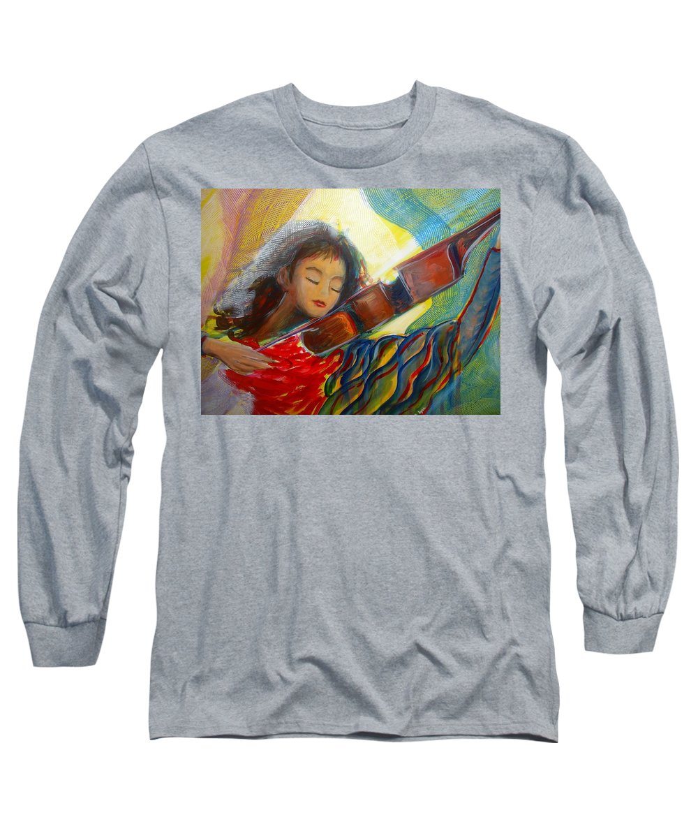 Violin Long Sleeve T-Shirt featuring the painting The Sweetest Sounds by Regina Walsh