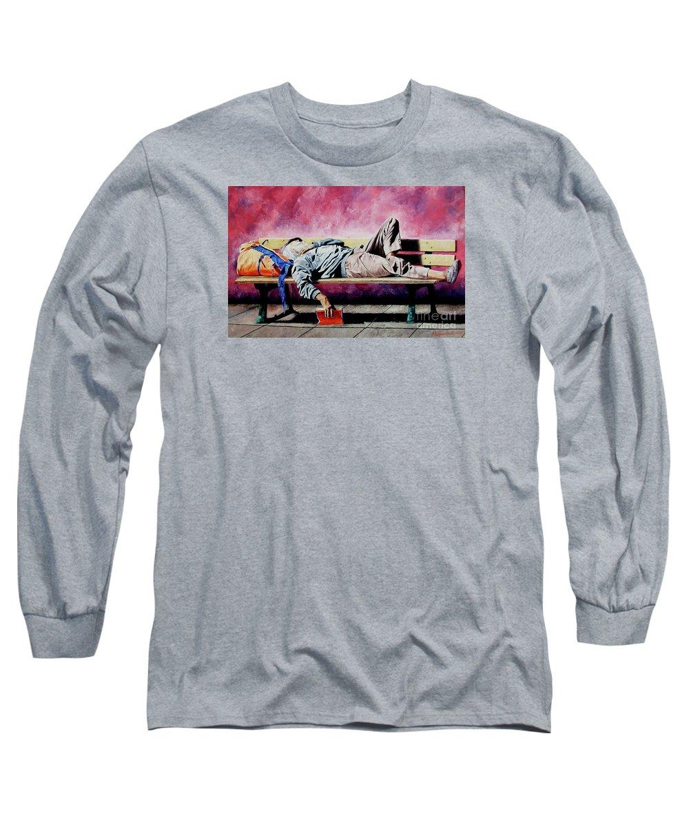 Figurative Long Sleeve T-Shirt featuring the painting The Traveler 1 - El Viajero 1 by Rezzan Erguvan-Onal