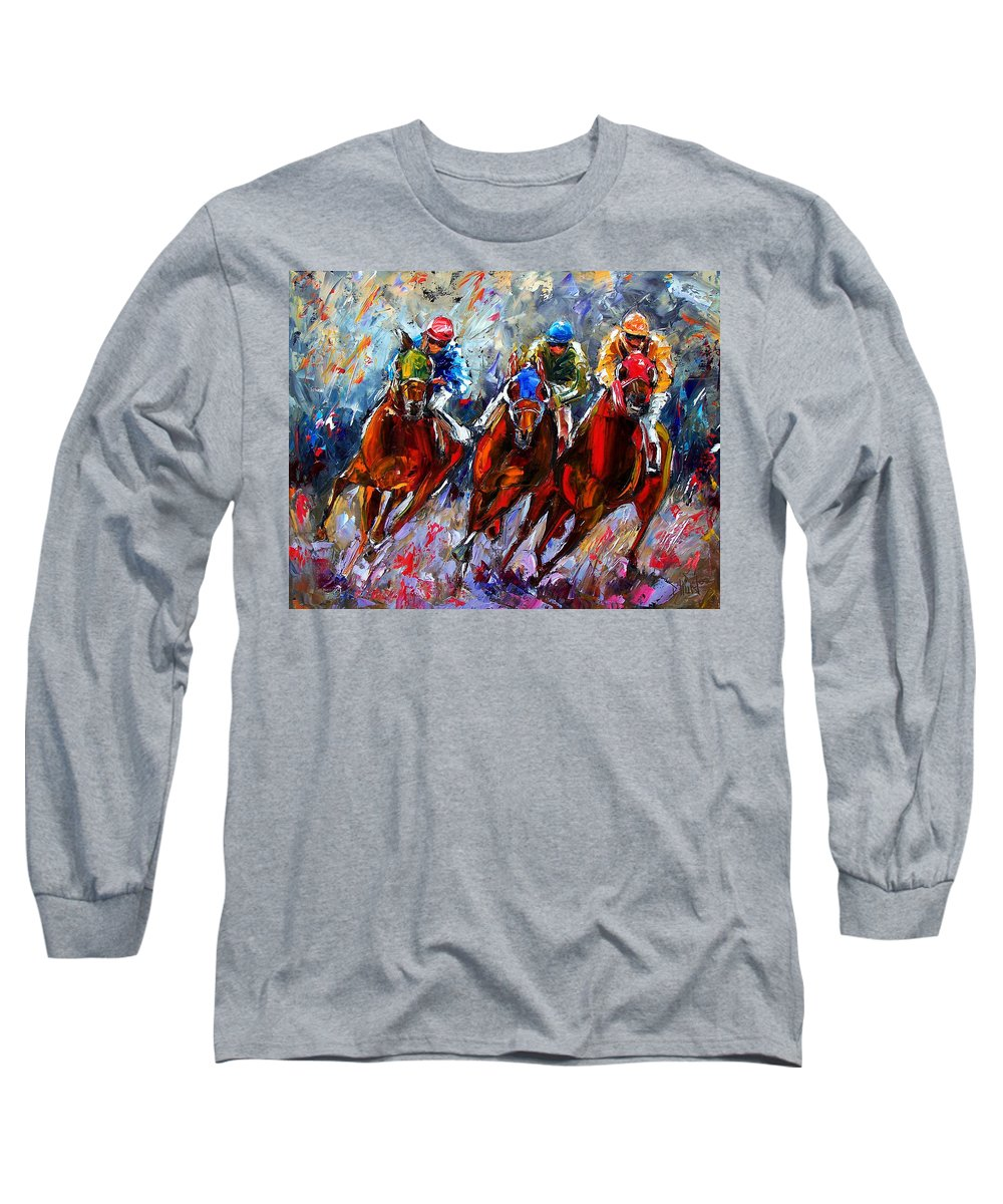 Horses Long Sleeve T-Shirt featuring the painting The Turn 2 by Debra Hurd