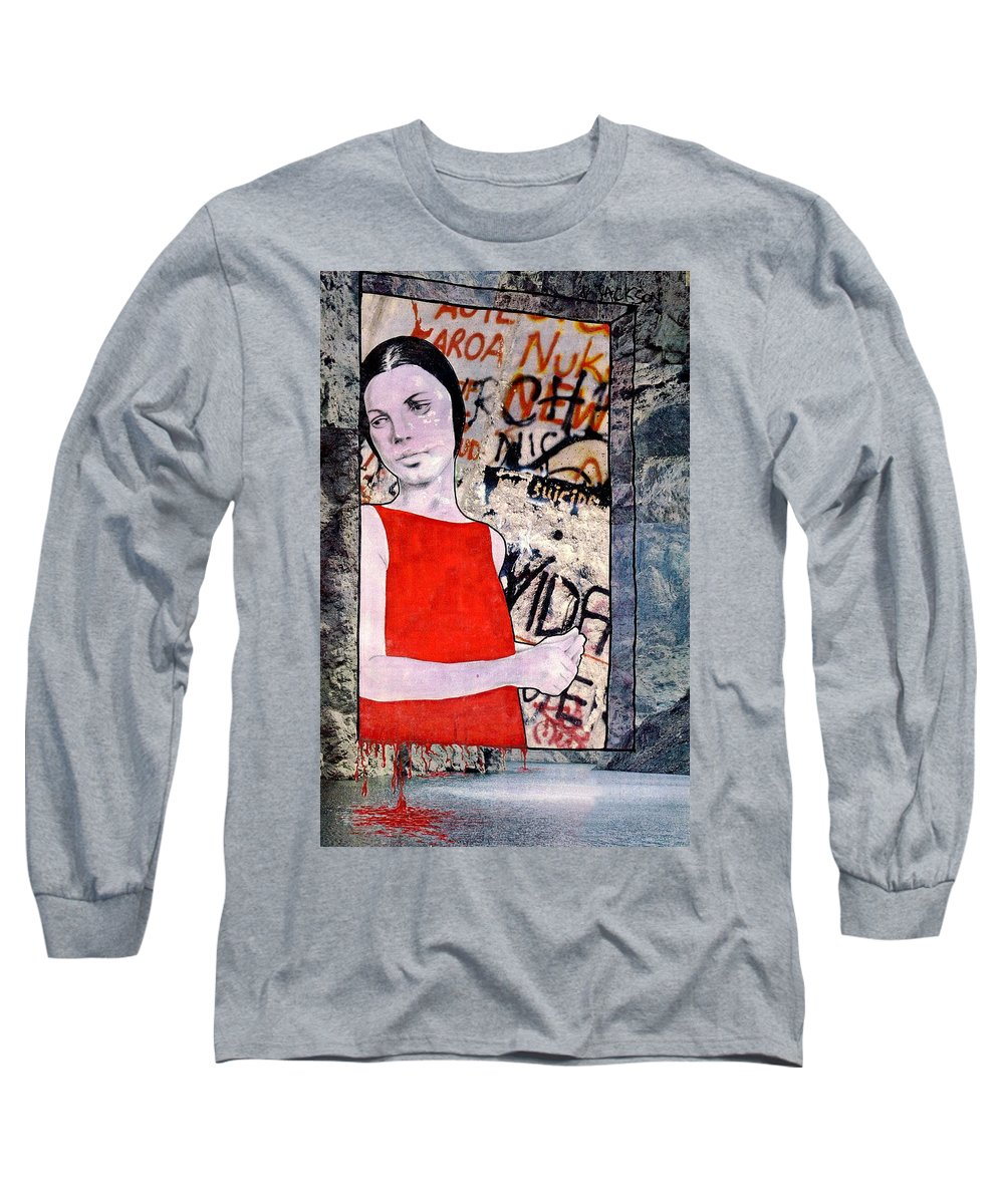 Woman Window Wall Water Blood Life Long Sleeve T-Shirt featuring the mixed media The Window by Veronica Jackson