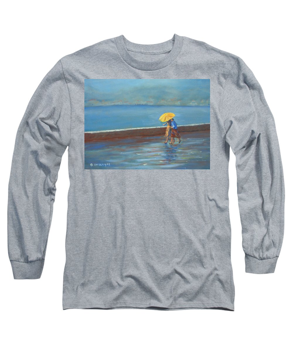 Rain Long Sleeve T-Shirt featuring the painting The Yellow Umbrella by Jerry McElroy