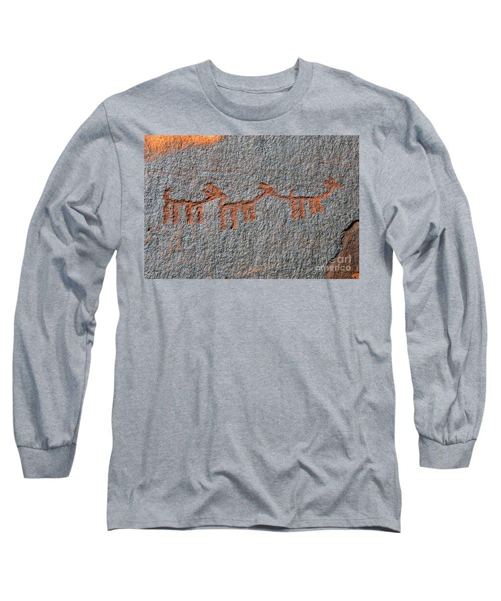 Petroglyphs Long Sleeve T-Shirt featuring the photograph Three Deer by David Lee Thompson
