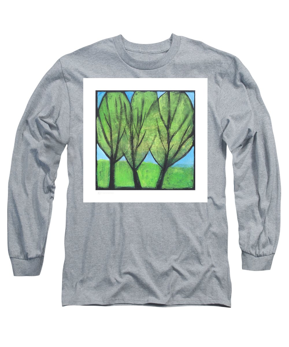 Trees Long Sleeve T-Shirt featuring the painting Three Sisters by Tim Nyberg