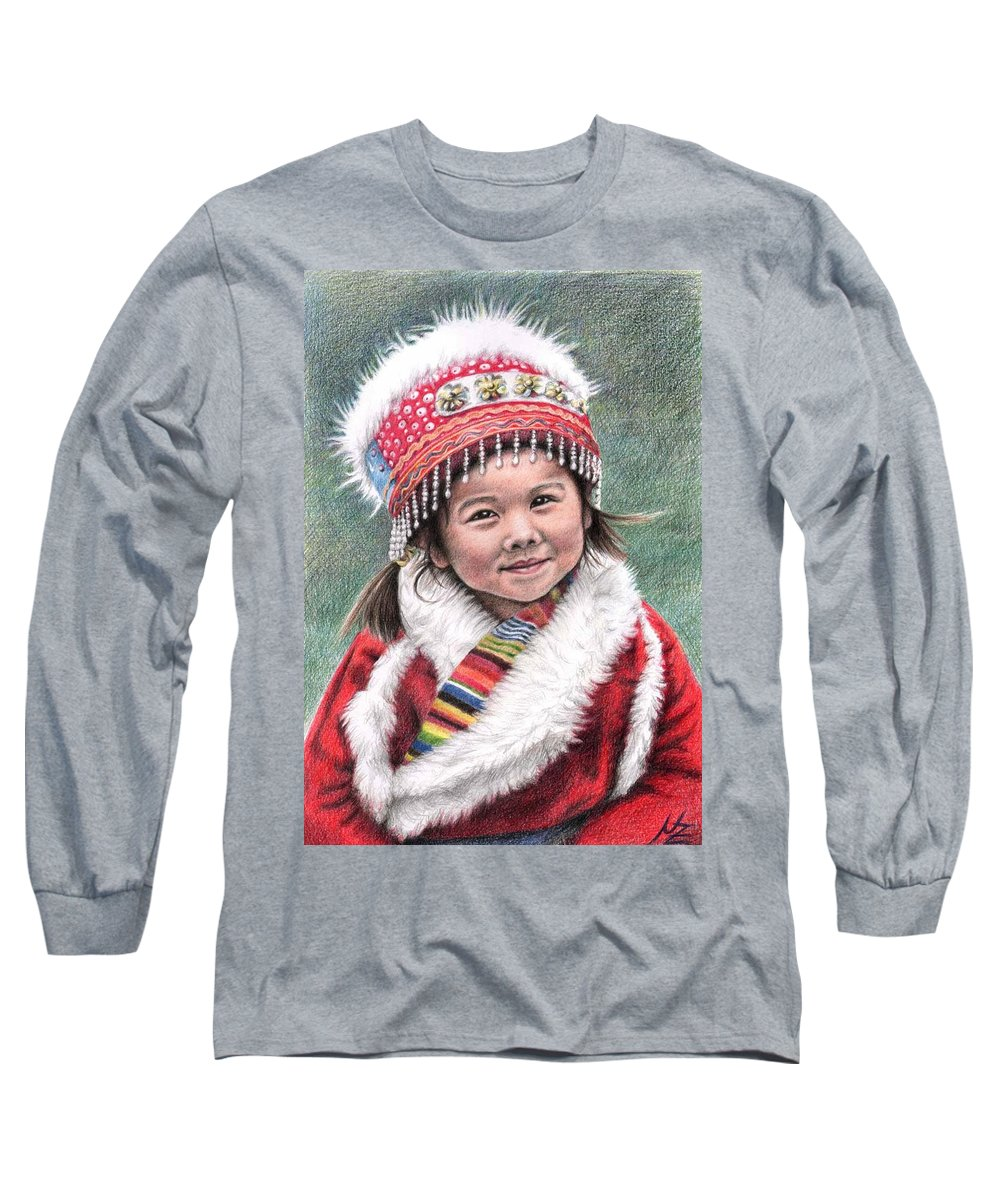Girl Long Sleeve T-Shirt featuring the drawing Tibetan Girl by Nicole Zeug