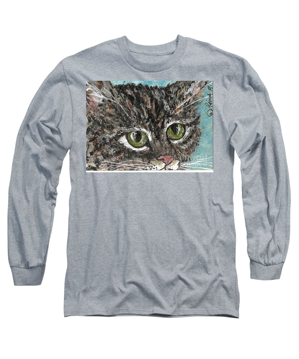 Cats Long Sleeve T-Shirt featuring the painting Tiger Cat by Reina Resto