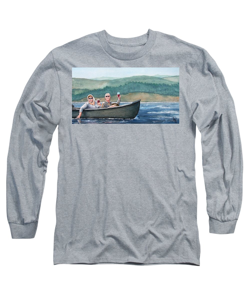 Canoe Long Sleeve T-Shirt featuring the painting To Life by Gale Cochran-Smith