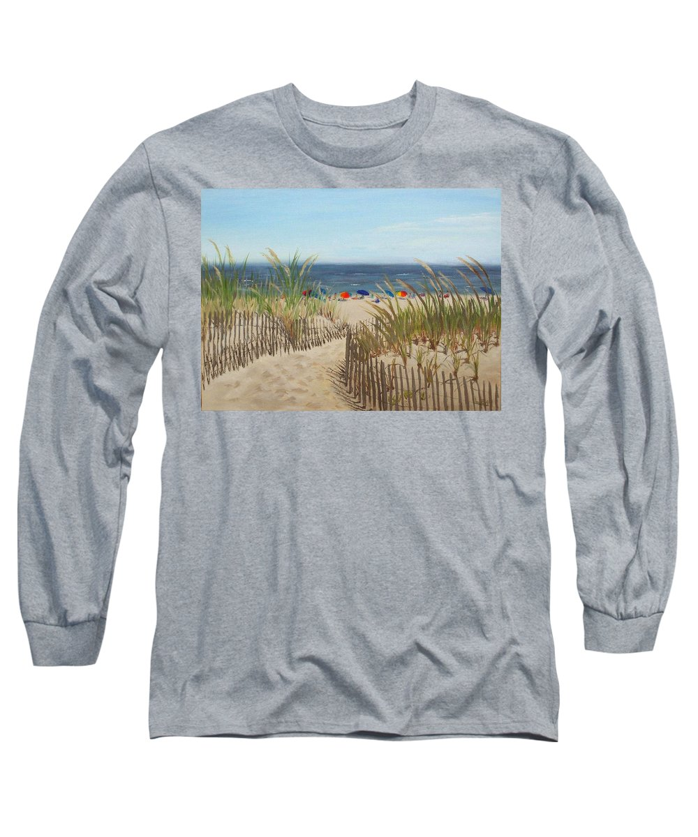 Beach Long Sleeve T-Shirt featuring the painting To The Beach by Lea Novak