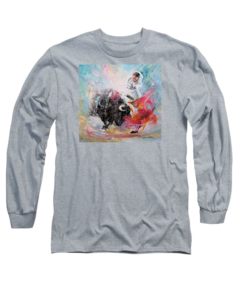 Animals Long Sleeve T-Shirt featuring the painting Toro Tempest by Miki De Goodaboom