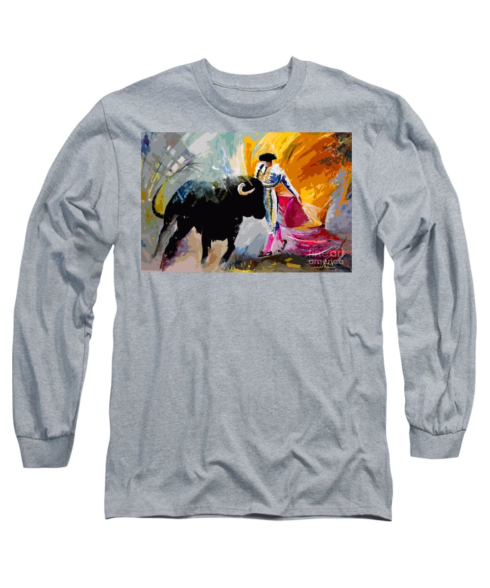 Toros Long Sleeve T-Shirt featuring the mixed media Toroscape 03 by Miki De Goodaboom