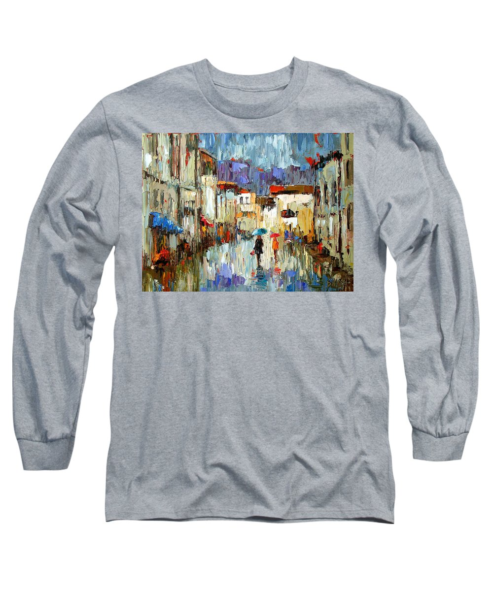 Landscape Long Sleeve T-Shirt featuring the painting Tourists by Debra Hurd