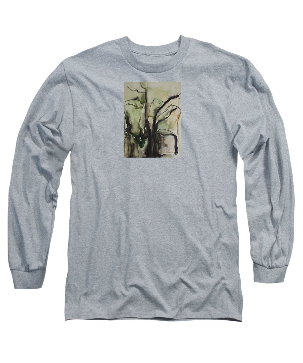 Tree Winter Abstract Original Painting Landscape Leila Atkinson Watercolor Wet On Wet Washes Trees Long Sleeve T-Shirt featuring the painting Tree Series V by Leila Atkinson