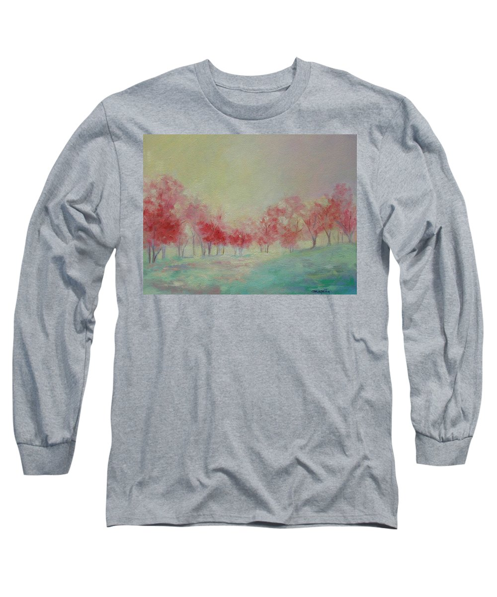 Impressionist Trees Long Sleeve T-Shirt featuring the painting Treeline by Ginger Concepcion