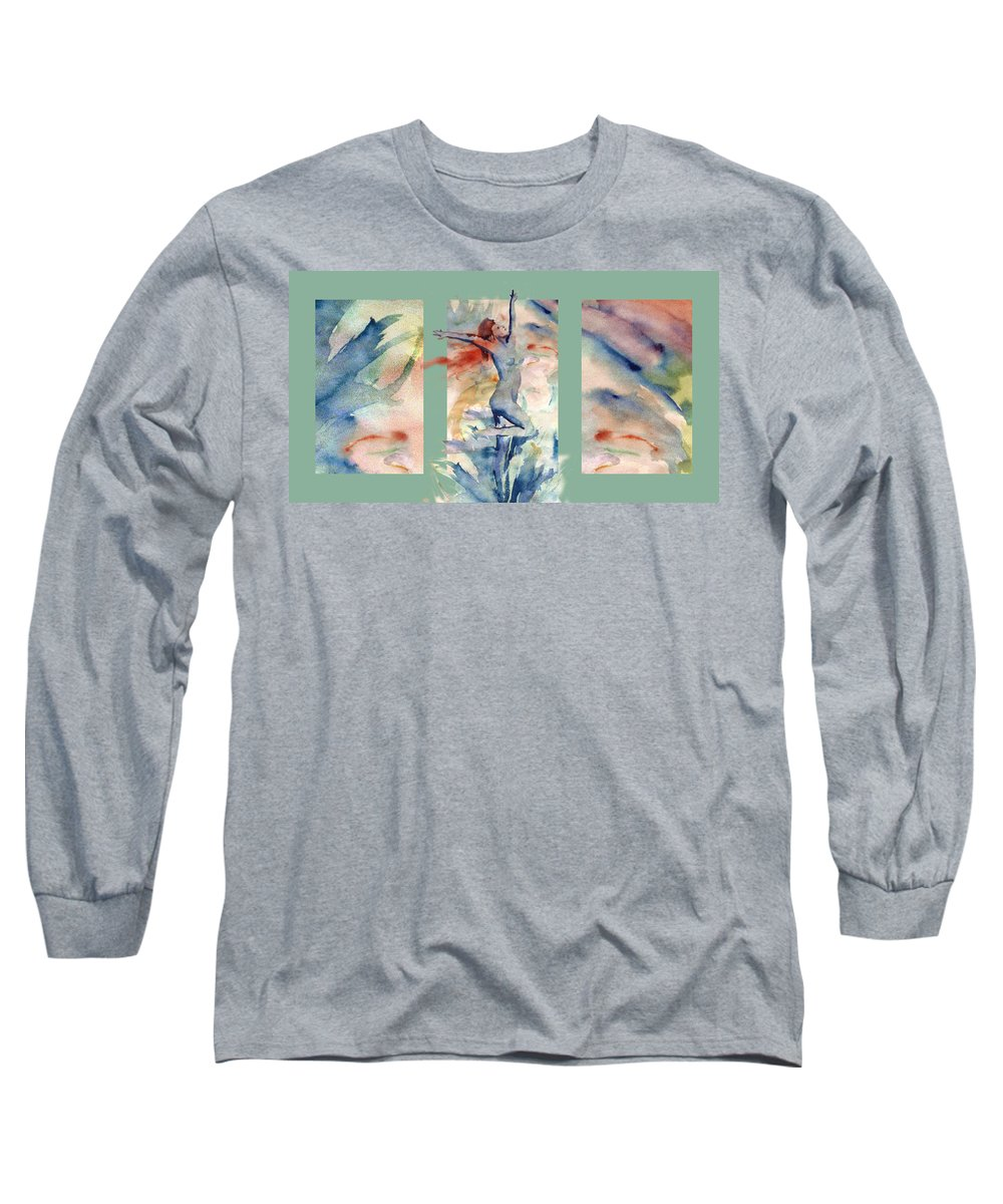 Abstract Long Sleeve T-Shirt featuring the painting Tribute by Steve Karol