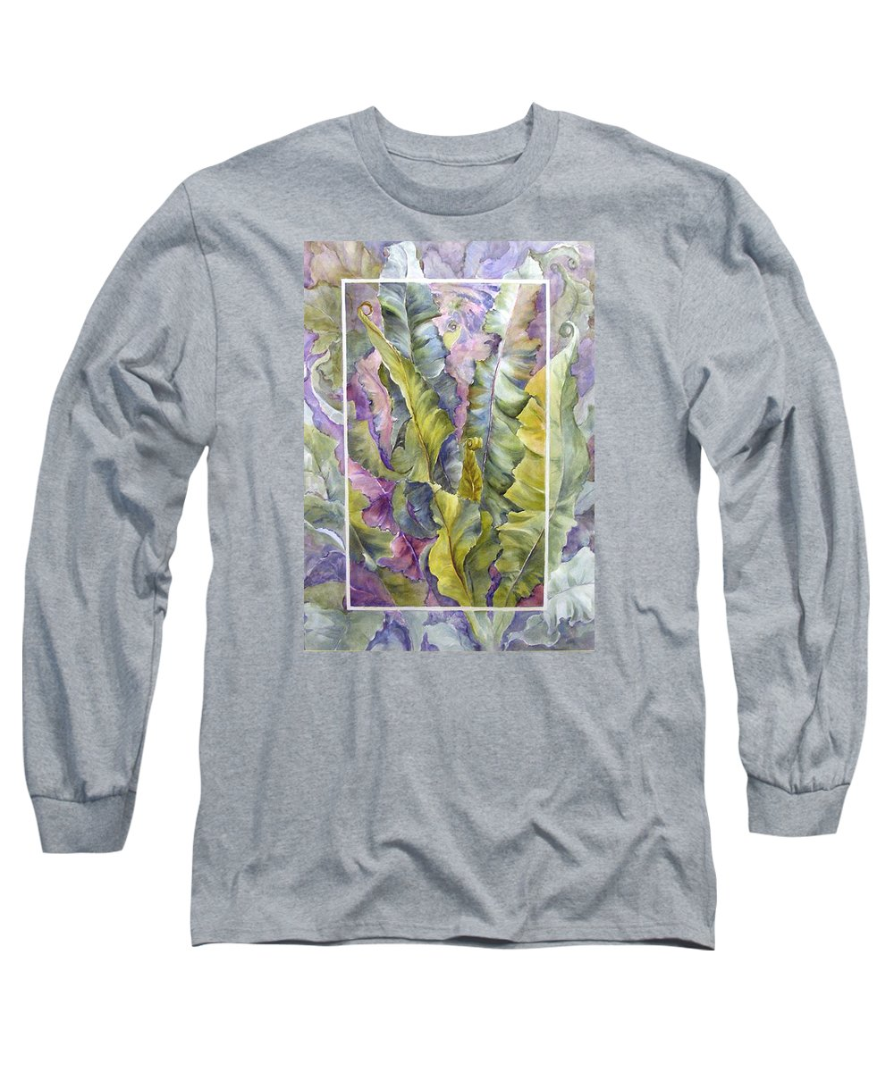 Ferns;floral; Long Sleeve T-Shirt featuring the painting Turns Of Ferns by Lois Mountz