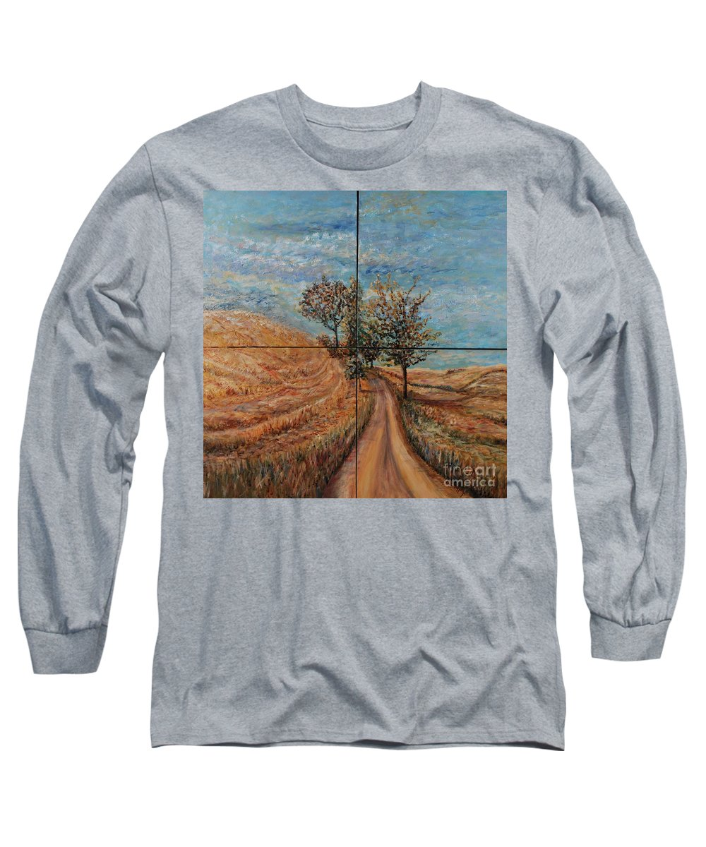 Landscape Long Sleeve T-Shirt featuring the painting Tuscan Journey by Nadine Rippelmeyer