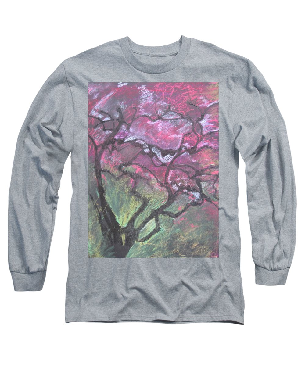 Pastel Long Sleeve T-Shirt featuring the drawing Twisted Cherry by Leah Tomaino