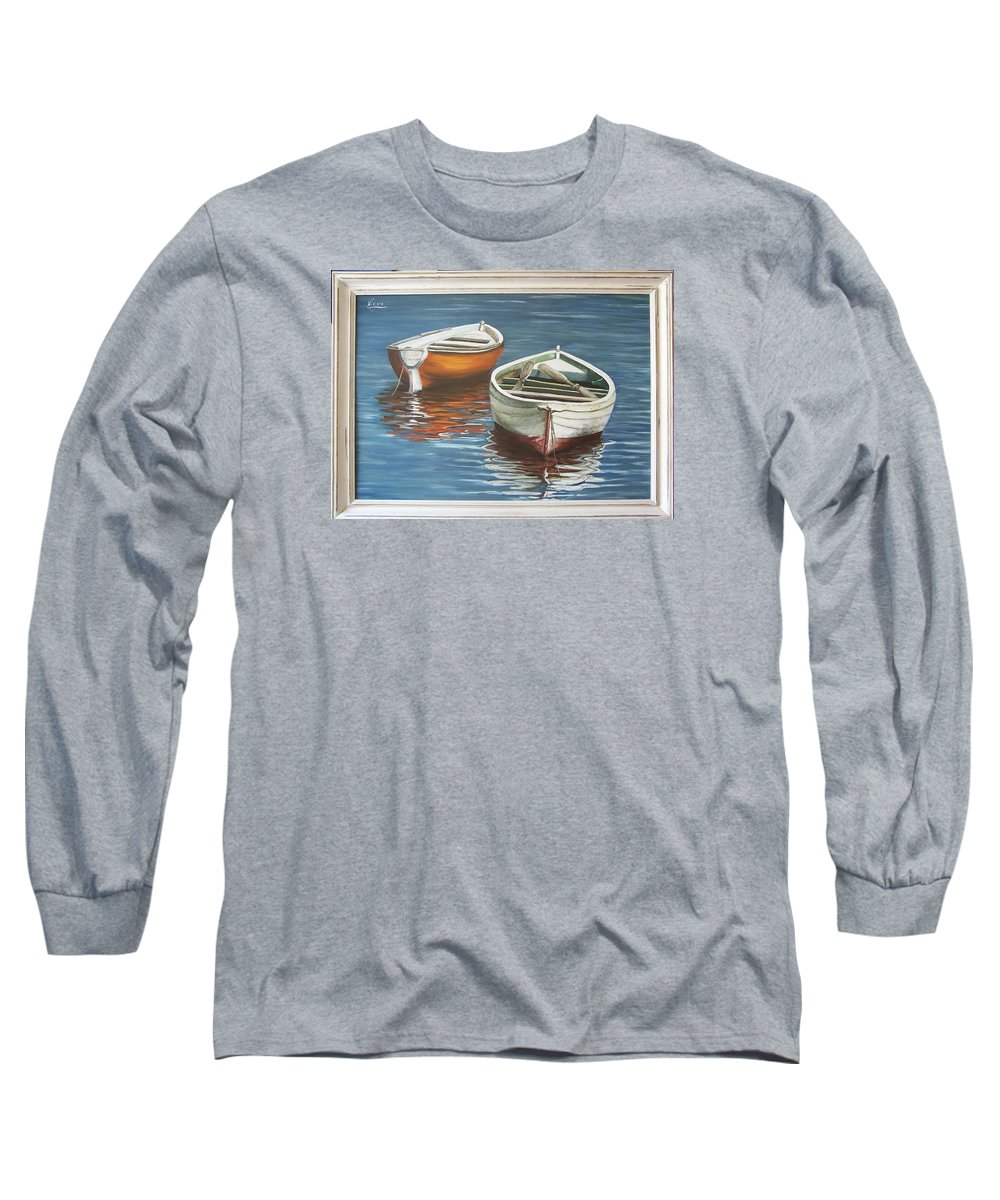 Boats Reflection Seascape Water Boat Sea Ocean Long Sleeve T-Shirt featuring the painting Two Boats by Natalia Tejera
