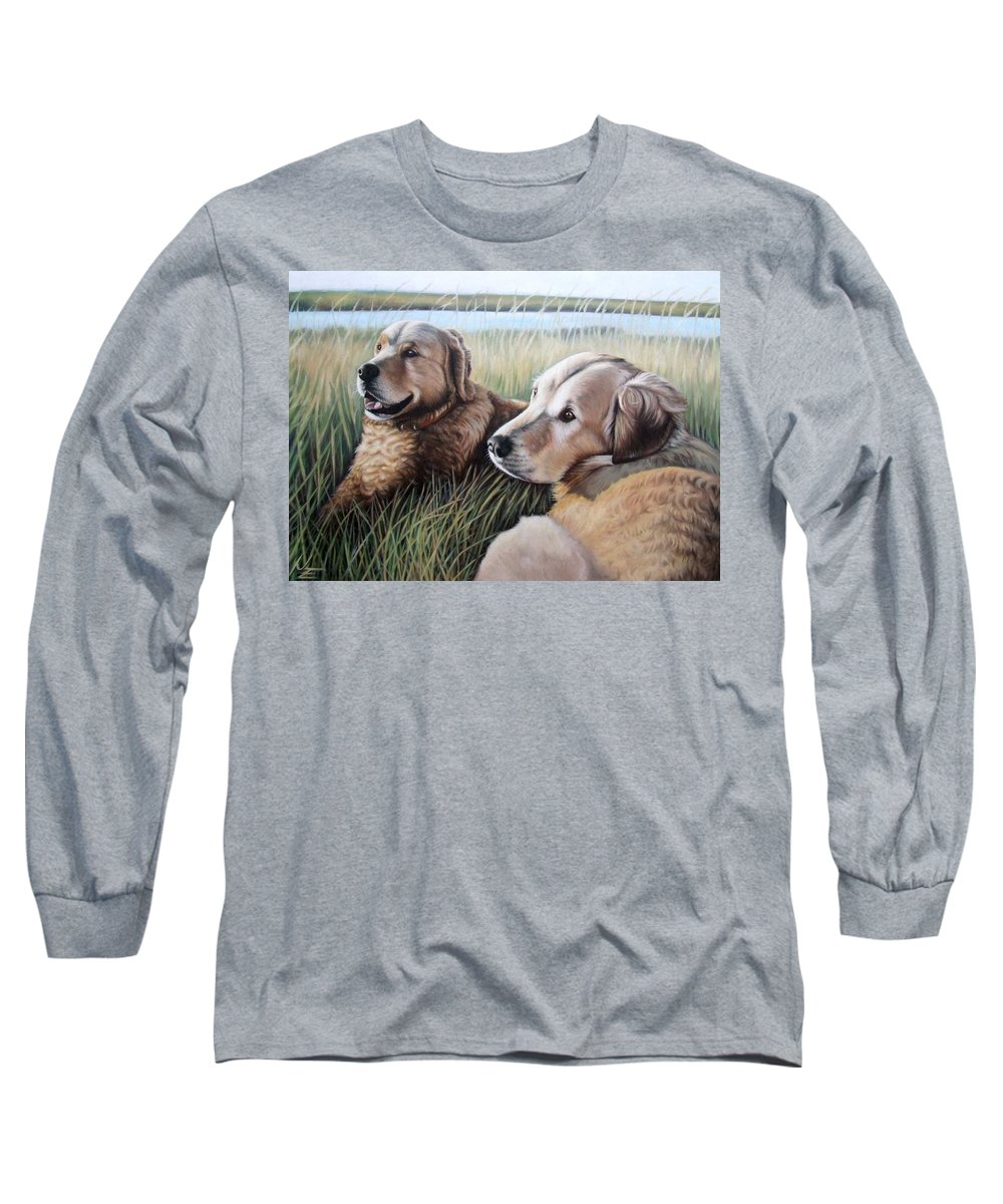 Dogs Long Sleeve T-Shirt featuring the painting Two Golden Retriever by Nicole Zeug