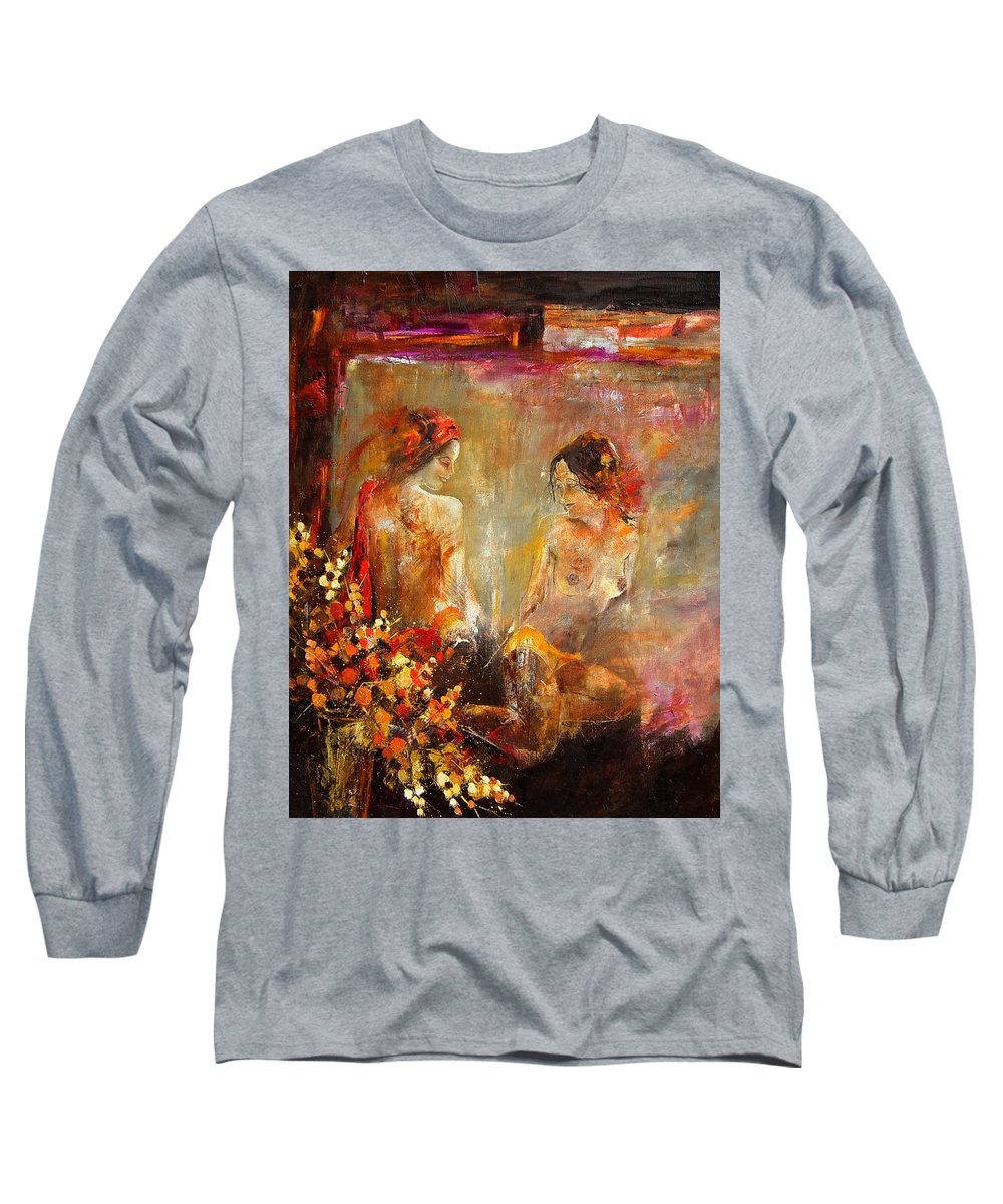 Girl Nude Long Sleeve T-Shirt featuring the painting Two Nudes by Pol Ledent