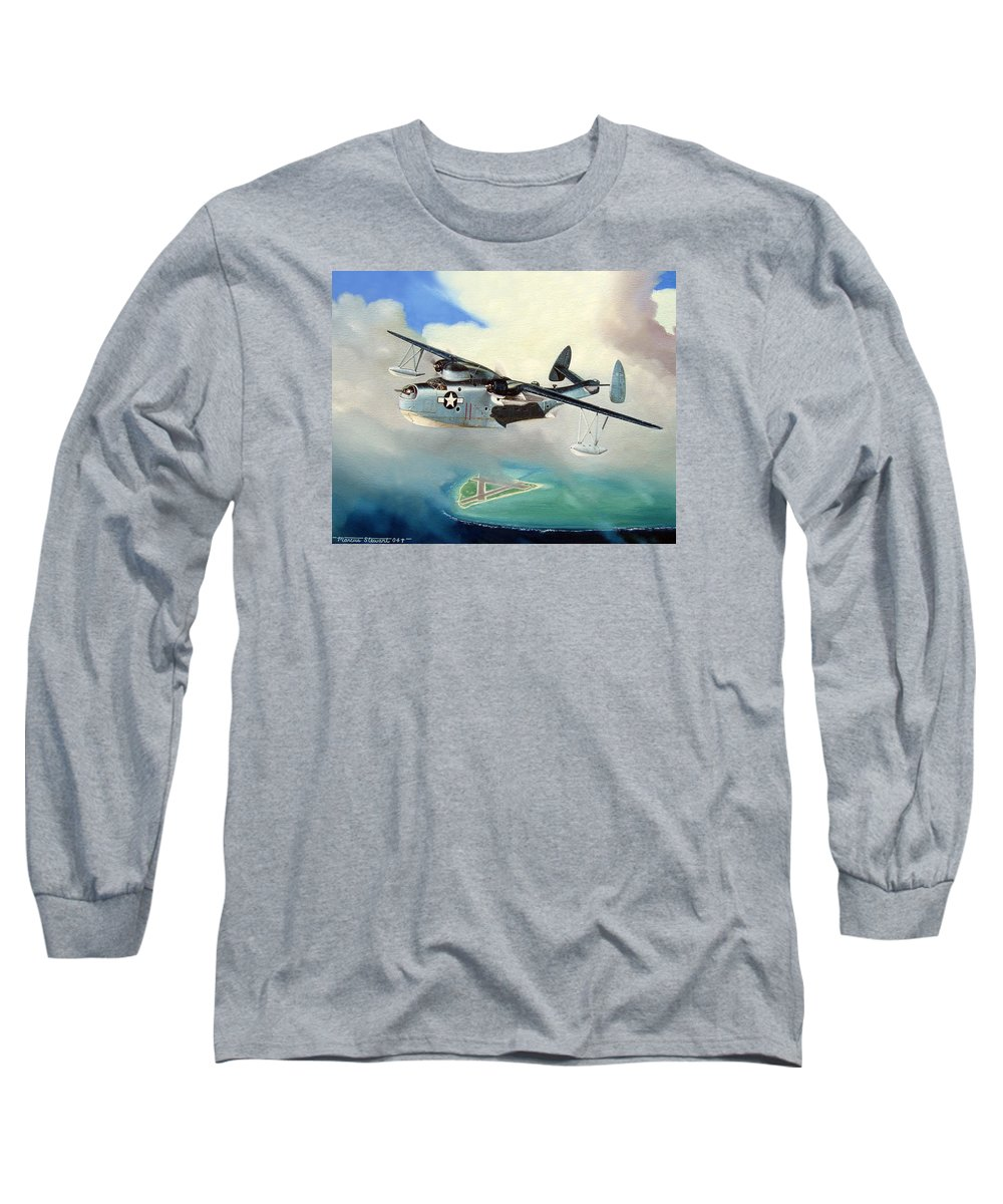 Military Long Sleeve T-Shirt featuring the painting Uncle Bubba's Flying Boat by Marc Stewart