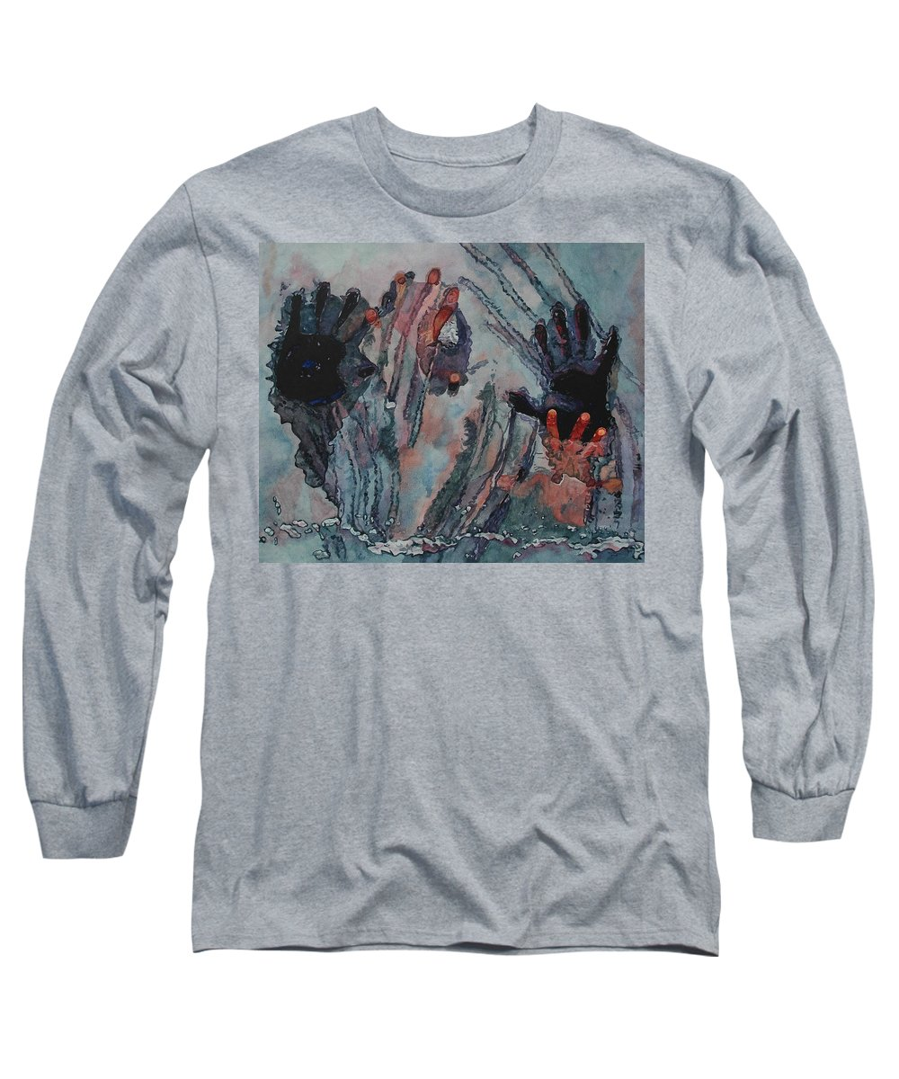 Underneath Long Sleeve T-Shirt featuring the painting Under Ice by Valerie Patterson
