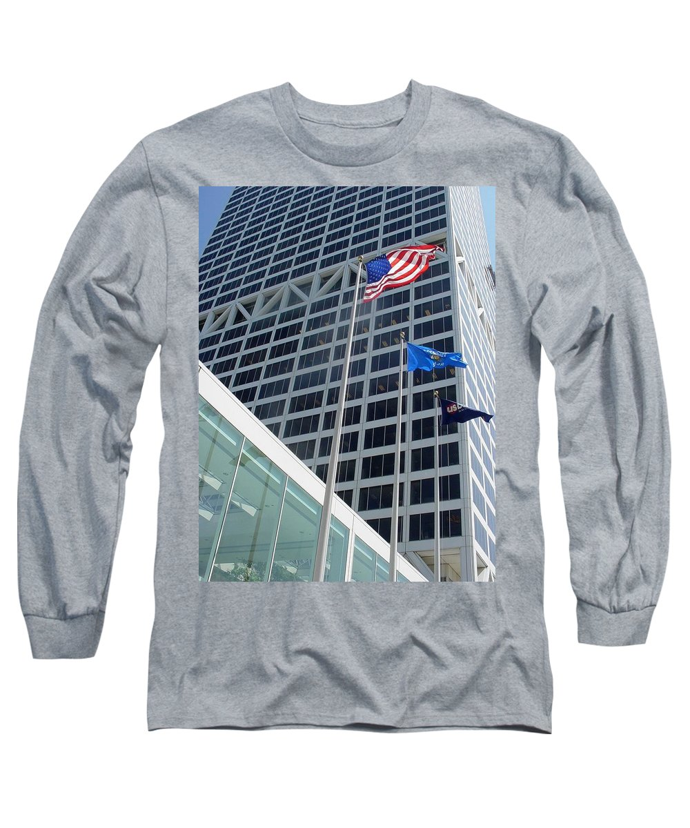 Us Bank Long Sleeve T-Shirt featuring the photograph Us Bank With Flags by Anita Burgermeister