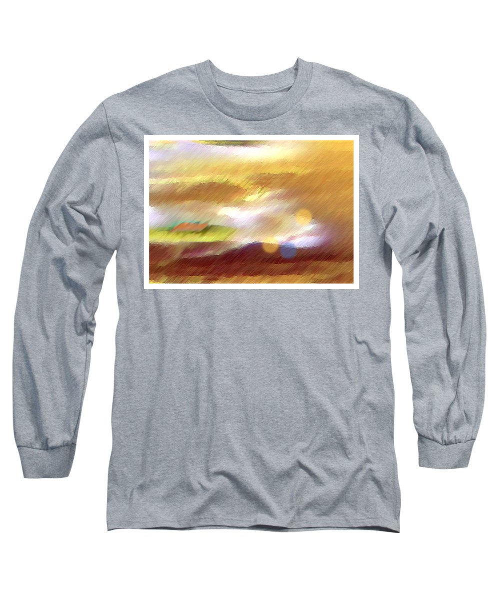 Landscape Long Sleeve T-Shirt featuring the painting Valleylights by Anil Nene