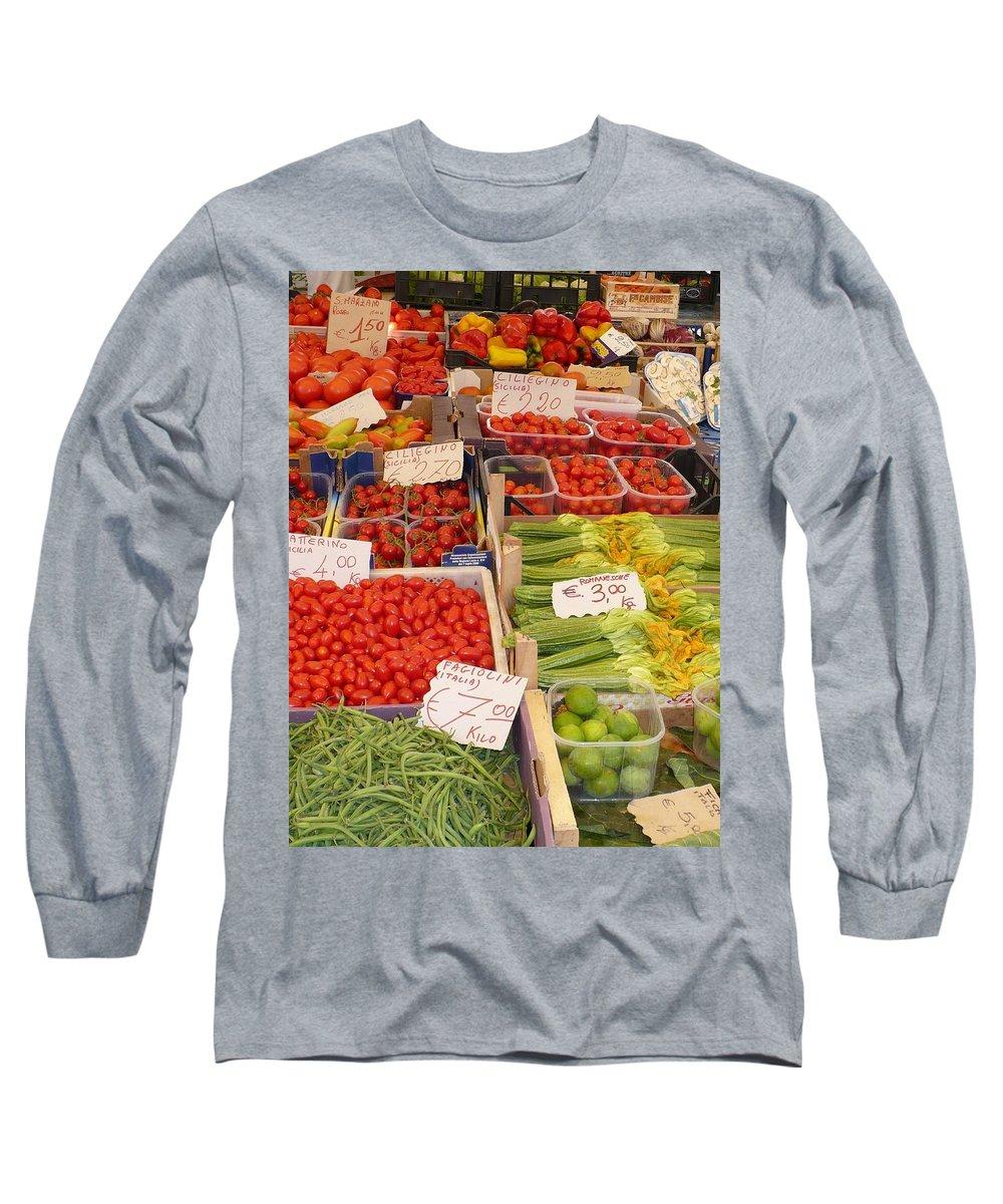 European Markets Long Sleeve T-Shirt featuring the photograph Vegetables At Italian Market by Carol Groenen