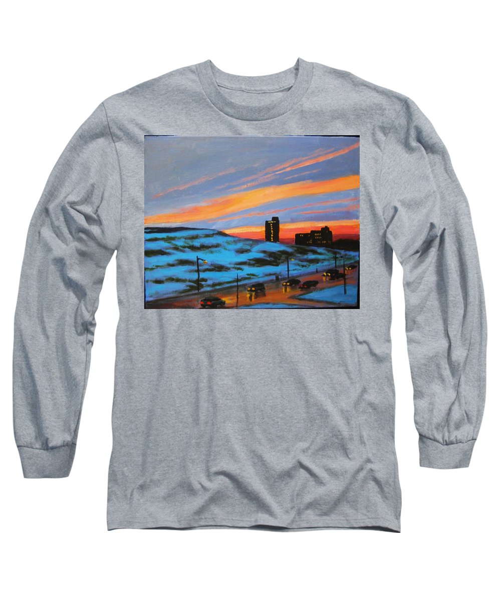 City At Night Long Sleeve T-Shirt featuring the painting View From My Balcony by John Malone