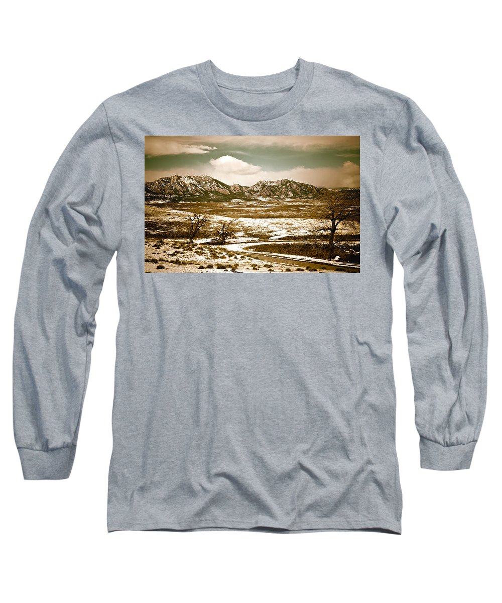 Landscape Long Sleeve T-Shirt featuring the photograph Flatironsview From Superior by Marilyn Hunt