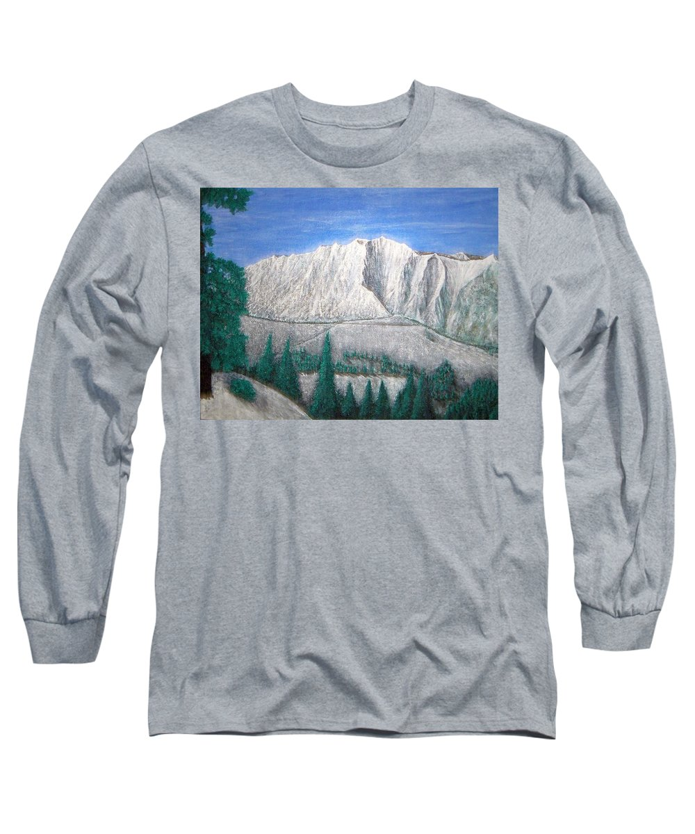 Snow Long Sleeve T-Shirt featuring the painting Viewfrom Spruces by Michael Cuozzo