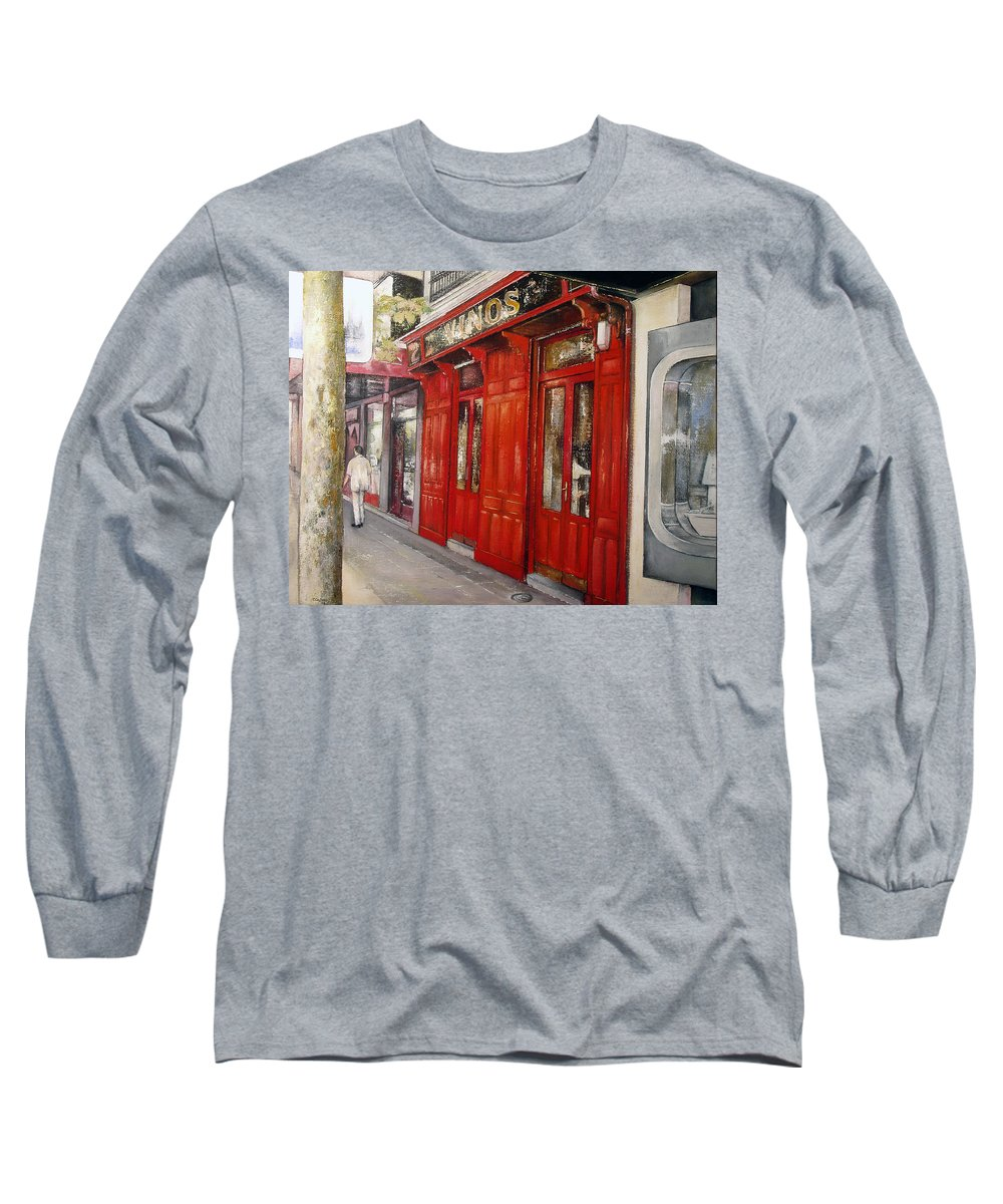 Urban Long Sleeve T-Shirt featuring the painting Vinos Sagasta by Tomas Castano