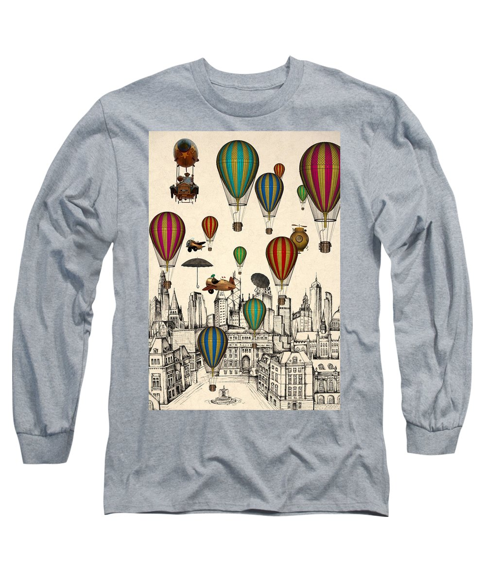 Vintage Long Sleeve T-Shirt featuring the digital art Vintage Old City by Mark Ashkenazi