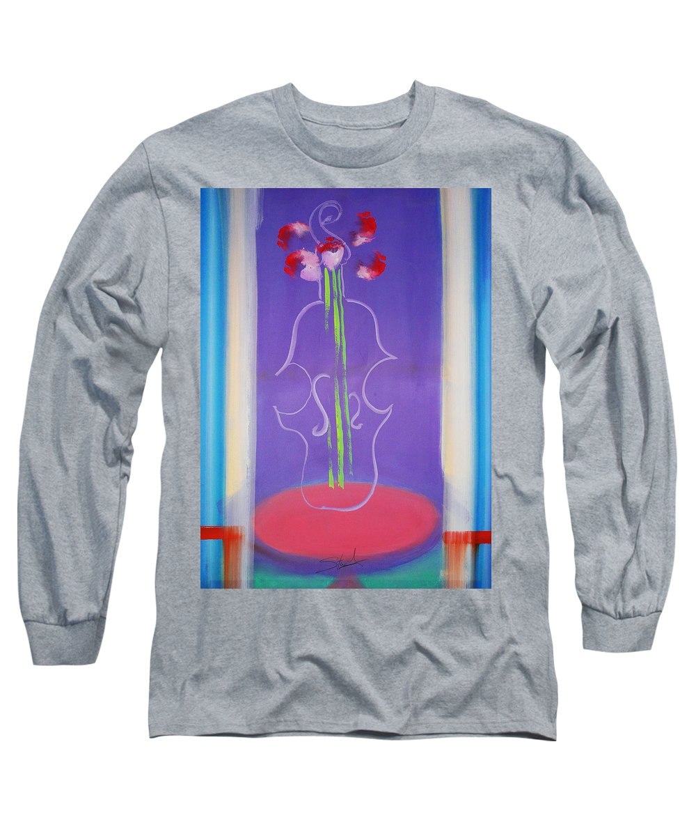 Violin Long Sleeve T-Shirt featuring the painting Violin Vase by Charles Stuart