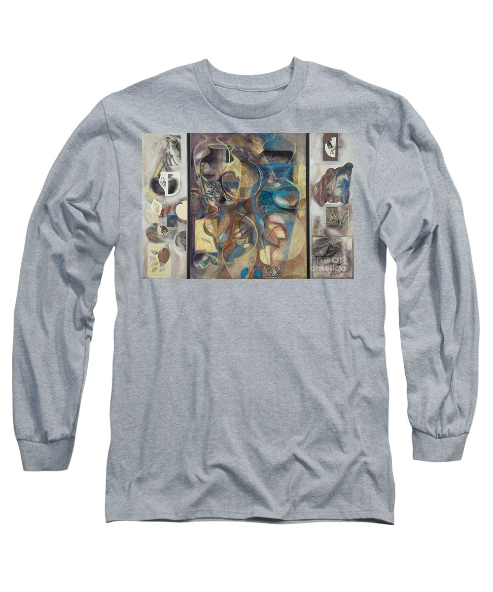 Vessels Long Sleeve T-Shirt featuring the painting Visible Traces by Kerryn Madsen-Pietsch