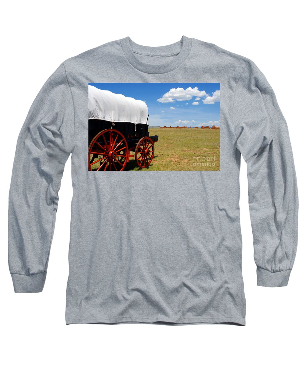 Fort Union New Mexico Long Sleeve T-Shirt featuring the photograph Wagon At Old Fort Union by David Lee Thompson